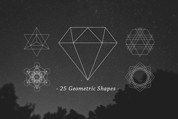 25 Outline Geometric Shapes by Dreamstale on @creativemarket