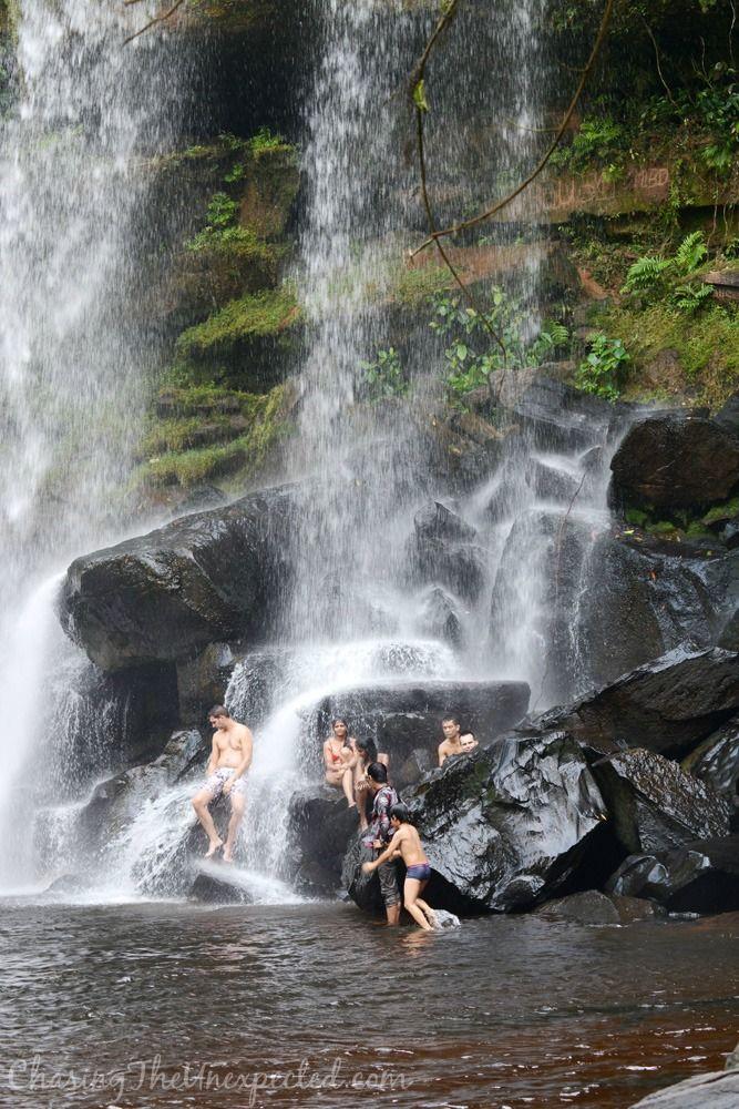 Enjoying the waterfalls in Phnom Kulen National Park near Siem Reap, Cambodia
