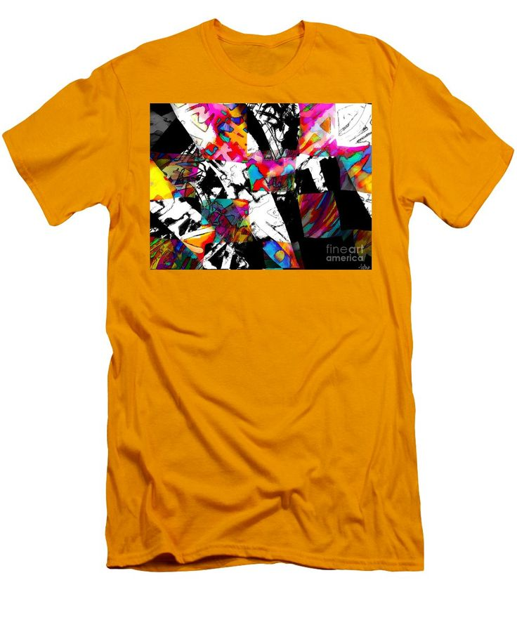 Fun Colorful Vibrant Dynamic Modern Abstract Original Artwork Created Digitally Men's T-Shirt (Slim Fit) featuring the painting Check Me Out by Expressionistart studio Priscilla Batzell