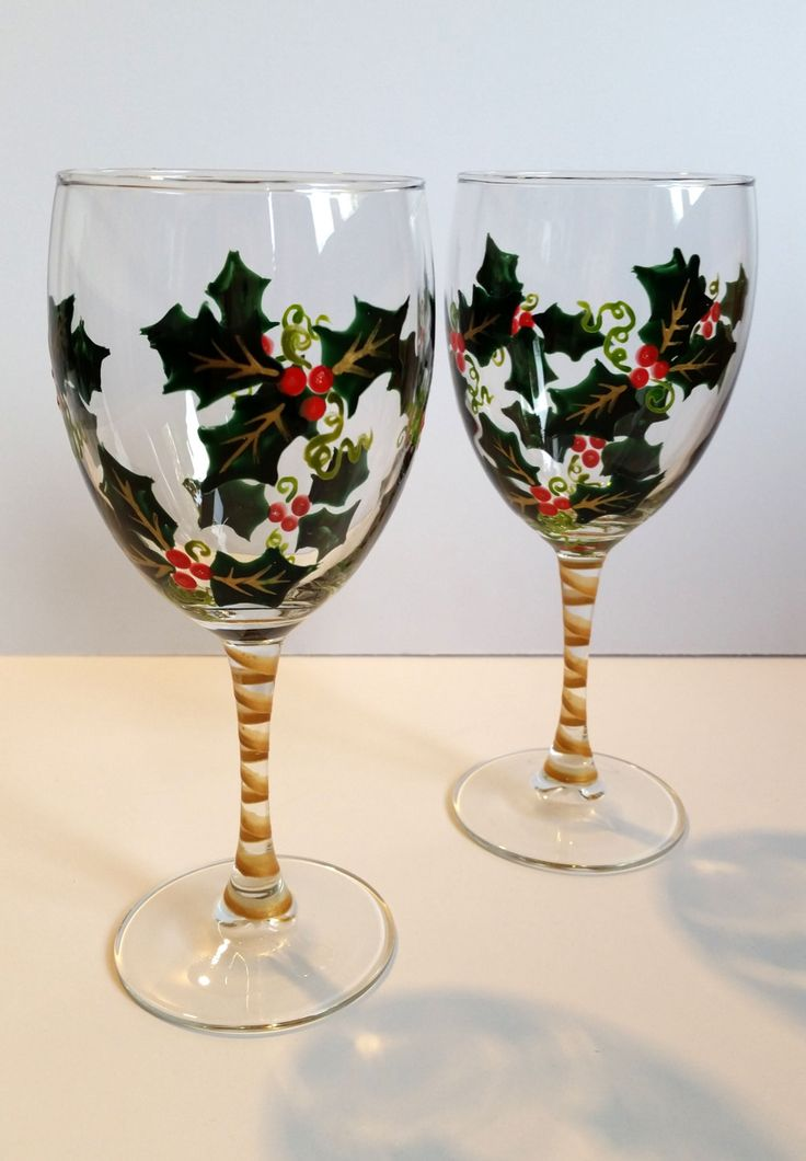 Wine glasses hand painted holly holiday wine glasses for Holiday stemware