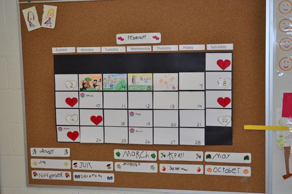 student created calendar - Reggio Emilia style - student reflection and art