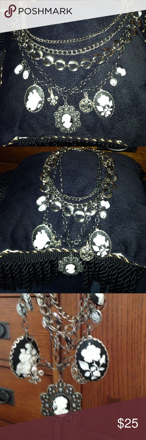 Cameos and chunky chain necklace! Black and white cameos and fleur di Lis charm necklace.  One of a kind handmade boho gypsy creation from my cameo collection. Jewelry Necklaces