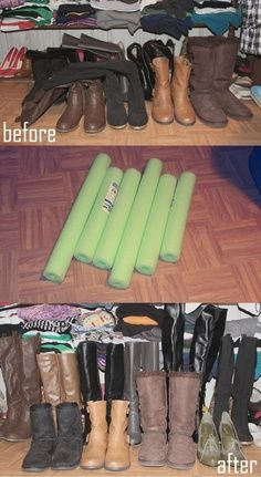 Closet Organization – Cheap way to organize your boots with pool floats I did this big help, they take up much less space. May I get noodles for your boots? Pa cut mine he would happily do yours also.