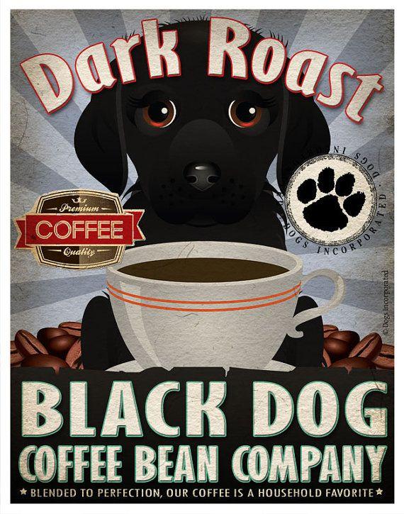 Black Dog Coffee Bean Company Original Art Print  - Black Mixed Breed Art -11x14-Customize with Name