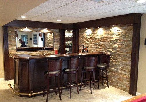 basement bar & stone wall.
