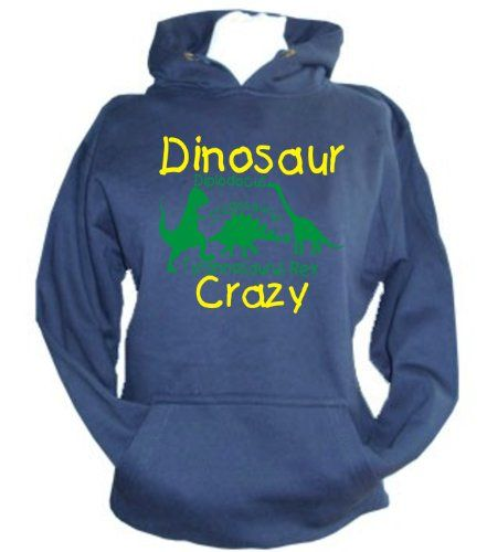Navy Hoodie 'DINOSAUR CRAZY' with Green and Yellow Print.