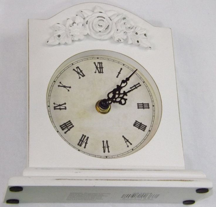 Shabby chic distressed #ivory #cream mantel clock mantlepiece rose floral #orname,  View more on the LINK: 	http://www.zeppy.io/product/gb/2/252535189144/