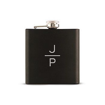 Black Monogram Personalised Hip Flask Gift For Men. Classy monograms are always a top favourite and combined with this Black Monogram Personalised Hip Flask Gift For Men, you have a groomsmen's gift that is truly personal. 9.5cm (L) x 2cm (W) x 10.5cm (H) Coated Stainless Steel Holds 6 oz. (177ml)
