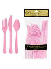 Pink Premium Plastic Cutlery Set 24ct