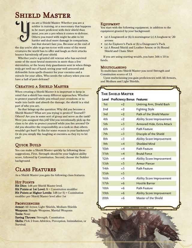 5e Homebrew Class Shield Master Dnd Classes Dungeons And Dragons Classes Dungeons And Dragons Homebrew