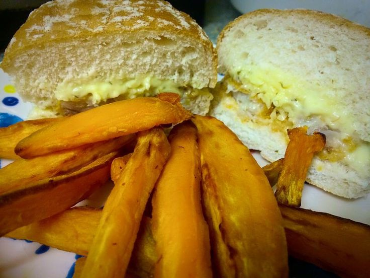 Fish finger, cheese sandwich with tartare sauce + sweet potato chips