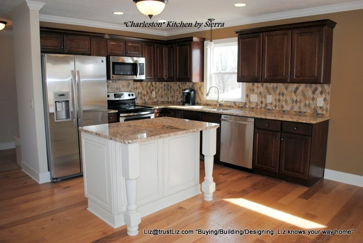Affordable Kitchen W Dark Maple Cabinets Contrasting Island Hickory Floors Home Decor