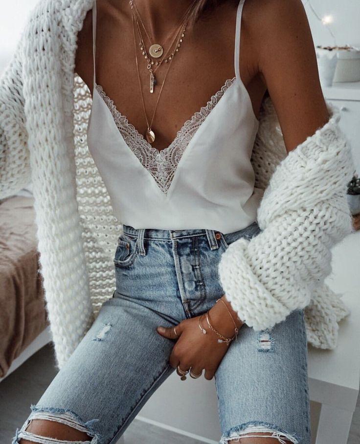 Chunky knit + lace cami.