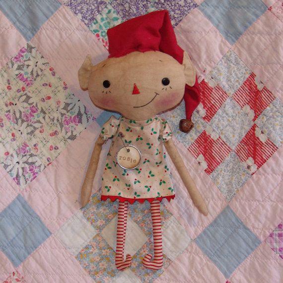Primitive Christmas Elf doll pattern 14 inch raggedy cloth