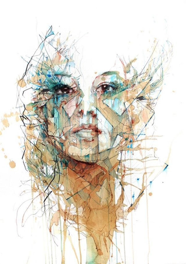 Portrait Drawn with Tea, Vodka, Whiskey and Ink by Carne Griffiths