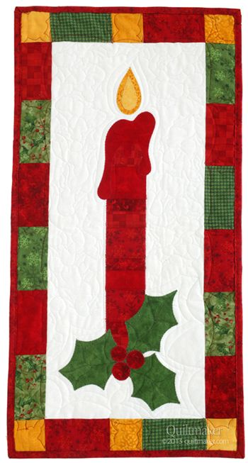 Winter Skinnie by Margie Ullery of Ribbon Candy Quilts. This red candle and holly sprig in Quiltmaker's Sept/Oct '13 issue complete Margie's Seasonal Skinnie Collection. Make one for yourself or make several for Christmas gifts.