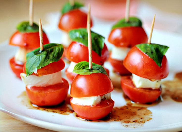 Antipasti Recipes For Party - tomatoes basil mozzarella - on toothpicks, will do with poms for frozen party