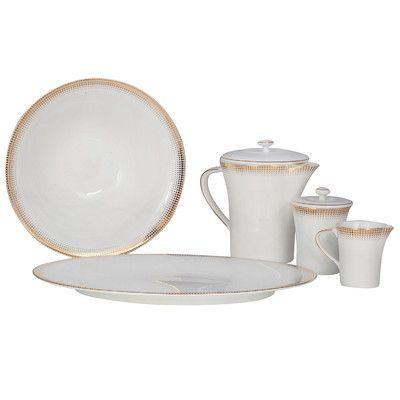 Shinepukur Ceramics USA, Inc. Ambassador Bone China Traditional Serving 5 Piece Dinnerware Set Color: