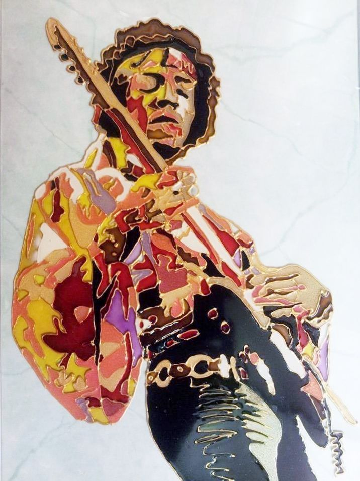 Jimi Hendrix Glass Painting https://www.facebook.com/AngiesGlassworks?fref=ts