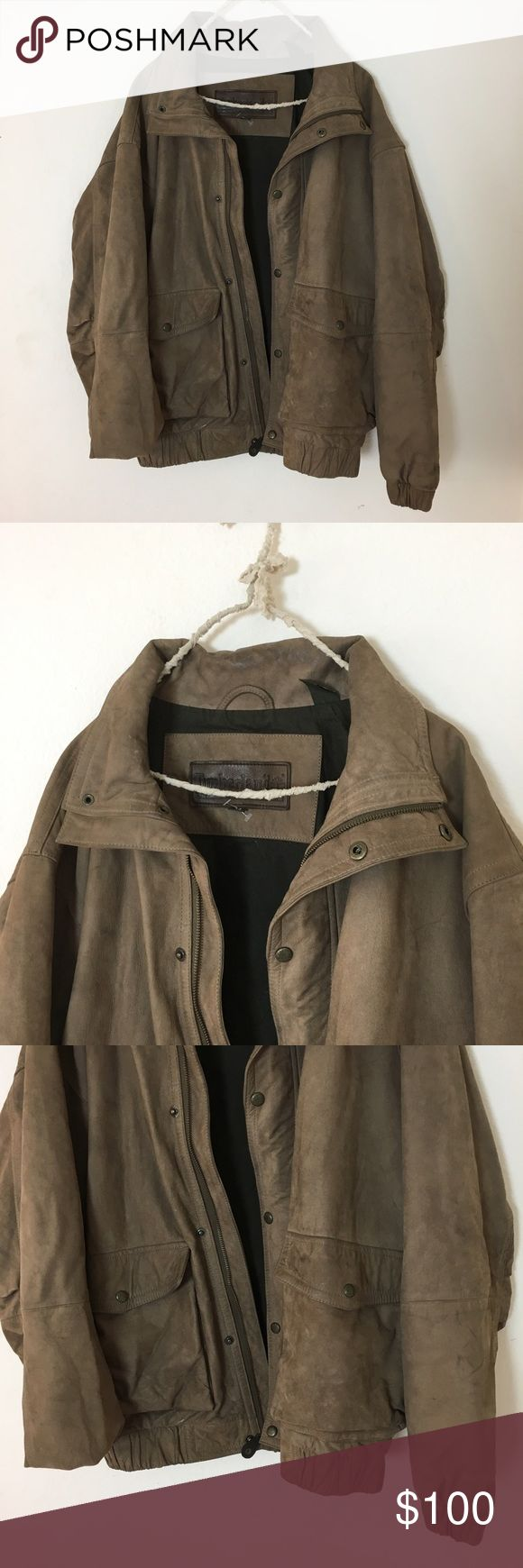 Vintage Timberland Leather Jacket Gorgeous high quality leather jacket. In great condition, has scuffs and wear from age and normal wear and tear. Men's size medium great for girls medium. Cute oversized casual look. Any questions, feel free to ask! Brandy Melville Jackets & Coats Utility Jackets