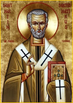 """St Martin the Merciful the Bishop of Tours At the gates of Amiens, he saw a beggar shivering in the severe winter cold, so he cut his cloak in two and gave half to the beggar. That night, the Lord Jesus Christ appeared to the saint wearing Martin's cloak. He heard the Savior say to the angels surrounding Him, """"Martin is only a catechumen, but he has clothed Me with this garment."""""""