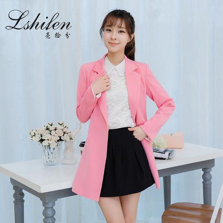 2016 spring women's fashion stylish long leopard chiffon windbreaker collar suit blazer outerwear coat