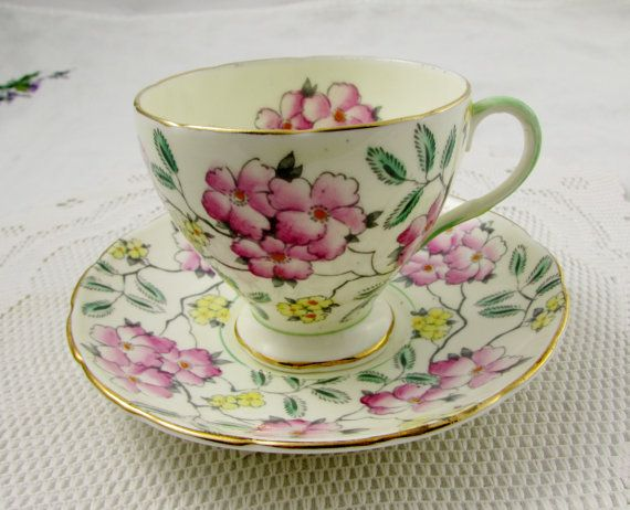 Foley Tea Cup and Saucer in Springdale Pattern - Bone China - Floral Chintz - English Bone China
