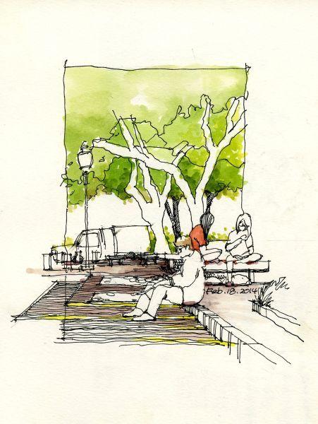 Urban sketch by Land8 member Chunling Wu.: