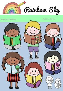 Is it time to grab a book? Here is small, free sampler of Reading Kids Clipart.  Included in the set are 3 boys and 3 girls as shown on the cover page.  9 different styles of each also included are the black line originals.  All graphics are .PNG files at 300 dpi for clear, crisp printing with transparent backgrounds. ~ Rainbow Sky Creations ~