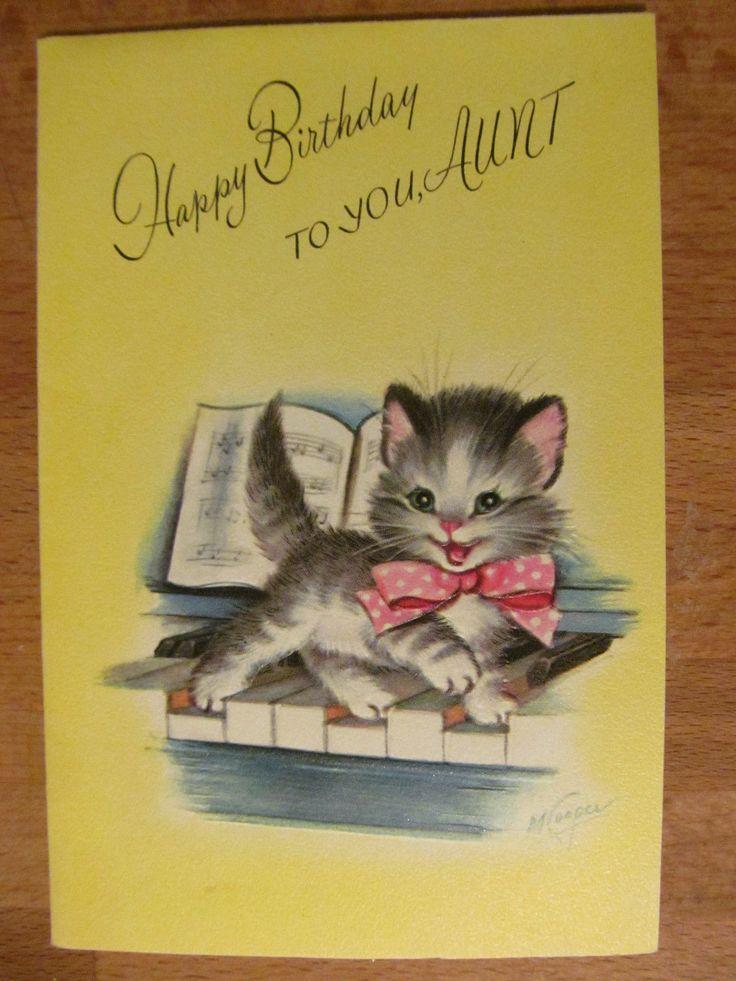Vintage Rust Craft Birthday Card Cat on A Piano Kitten 1950'S | eBay