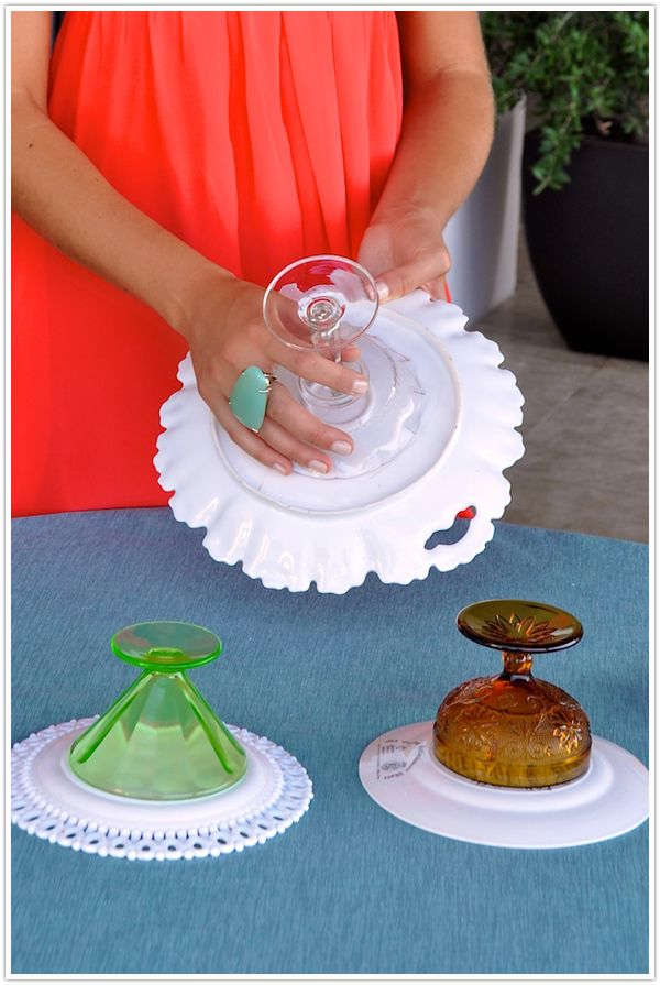 DIY cake stand vintage compote plate dessert - camille styles events. Love these! I've used glass glue from the hardware store and it works great!!