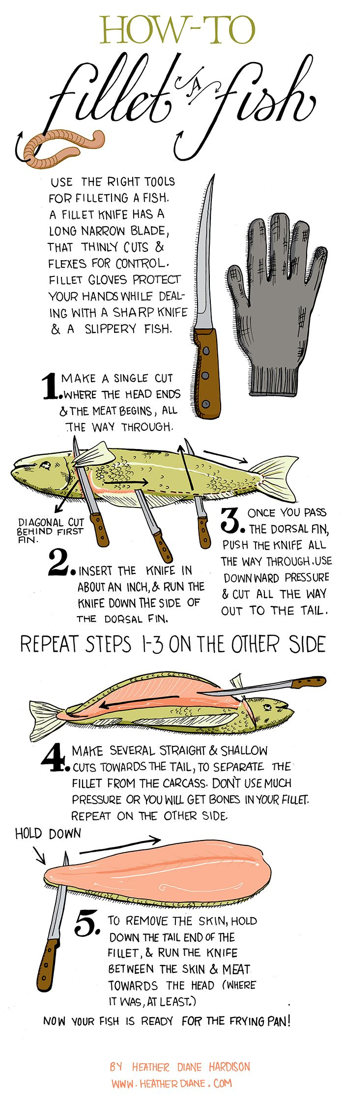 Do you fillet? Learn how to fillet a fish with this handy guide. Don't forget to practice safe handling in the kitchen! #ToTTfulTips