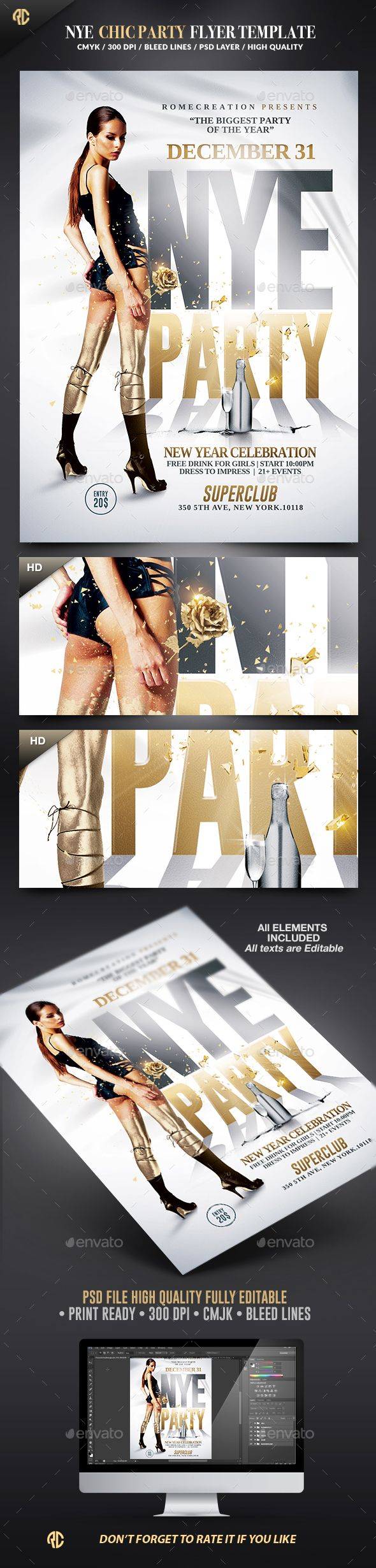 New Year Chic Party Flyer Template PSD #design #nye Download…