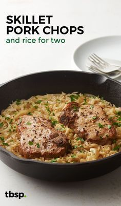 One-pan pork chops with gravy? Yes, please! All the better when they're pan-seared to perfection and served up with caramelized onions on top of creamy rice.