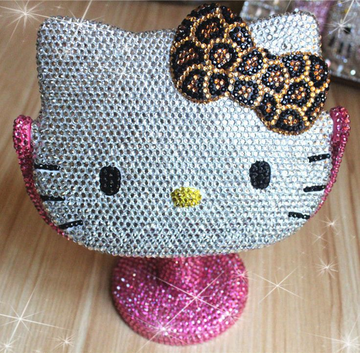 Bling Brown Leopard Deluxe Hello Kitty Crystal Diamond Make Up Mirror Girl Gifts