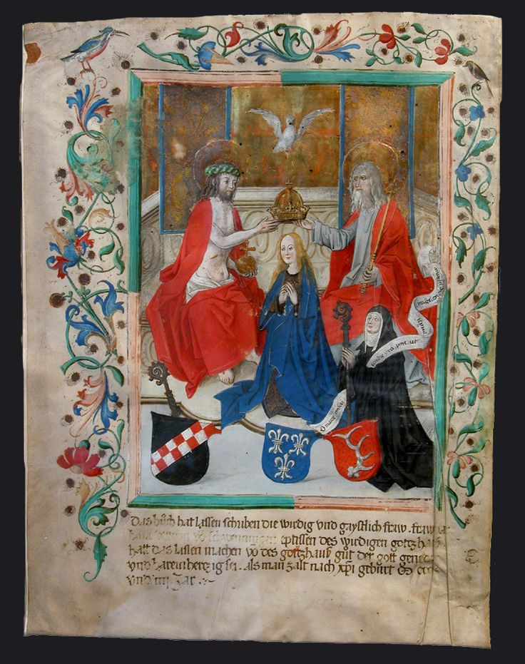 Coronation of the Virgin, Miniature 38 x 28.2 cm from a Missal, commissioned by Barbara Vetter von Schwenningen, Abbess of Cistercian convent at Oberschoenenfeld (near Augsburg), Breslauer Collection, New York City,  wikipedia.org