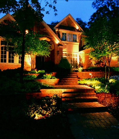 Front yard lighting front yard landscaping peach tree landscaping lascassas tn lighting is important not only for safety it is also showcasing your