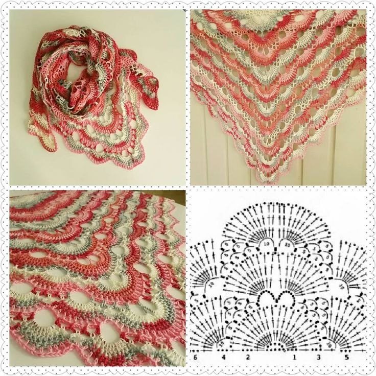 Crochet shawl with chart.
