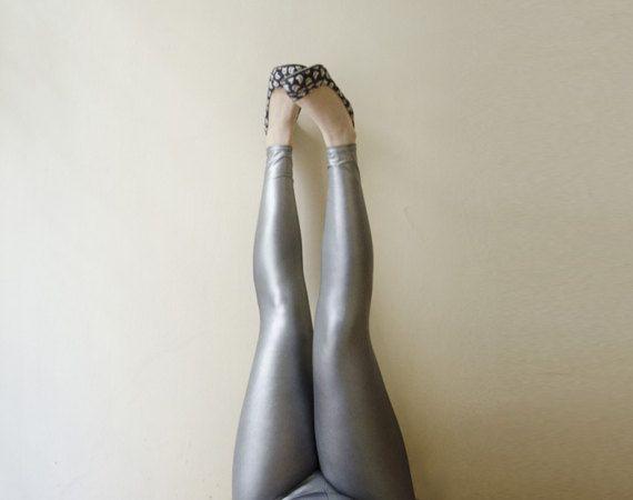 Silver Leggings, Glam Metallic Leggings, Futuristic Shinny Leggings, Plus Sizes and Tall Sizes available
