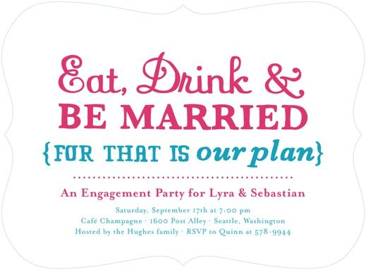 Our Plan - Signature White Textured Engagement Party Invitations - Tallu-lah - Begonia - Pink : Front