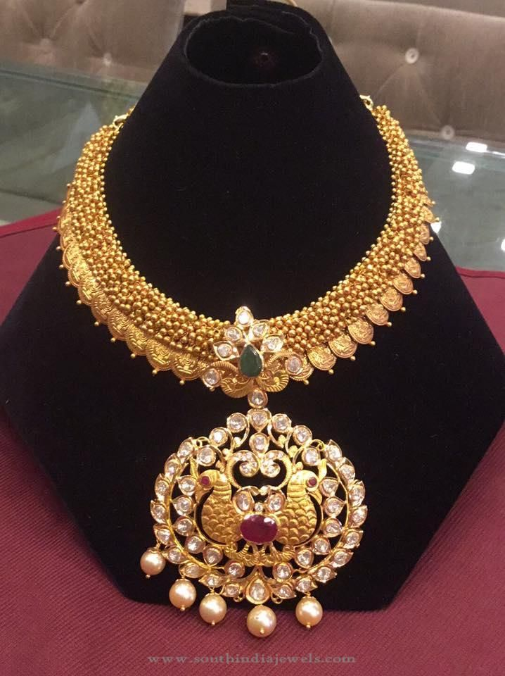 Gold Attigai Necklace Designs, Attigai Style Necklace Collections.