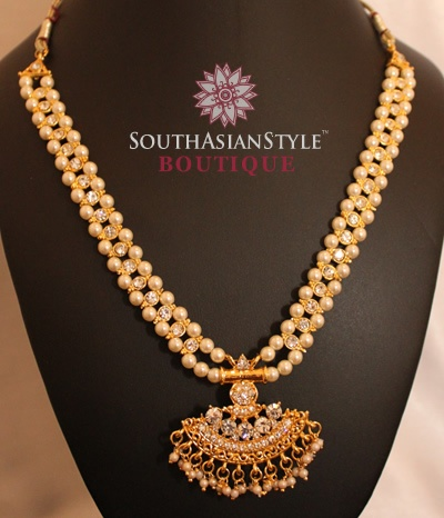 Pearl and White Stone South Indian Set- JW014