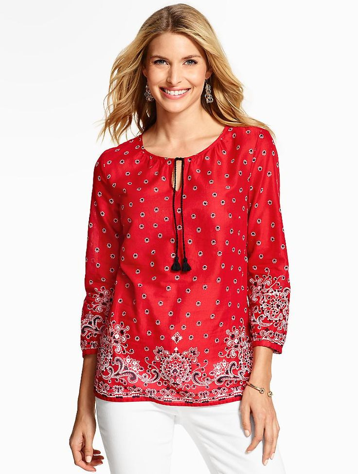 A cool cotton popover with a bandana-inspired print.