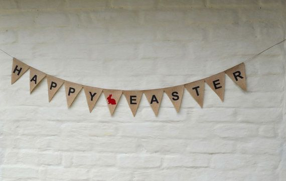 HAPPY EASTER BANNER Hessian Burlap  bunting Celebration Party Banner Bunting Decoration Children