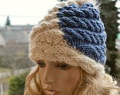 Knitted cream and blue-gray cap/hat - FUR POMPOM