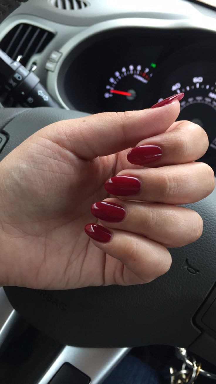 Long and thin oval acrylics in OPI Magala Wine