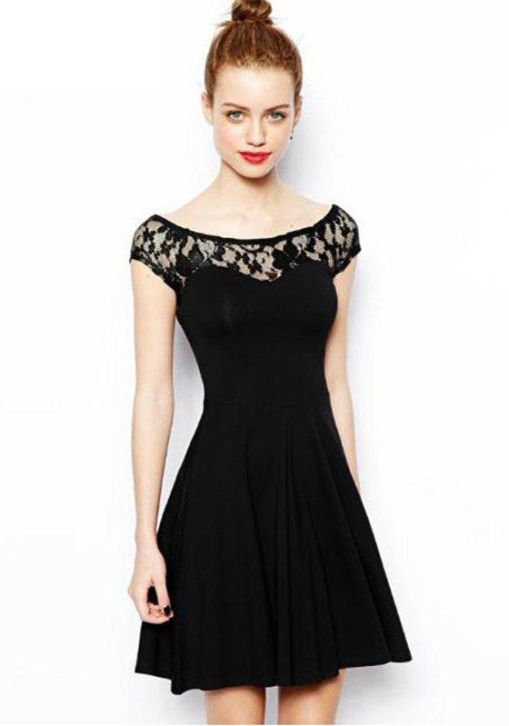 Black Patchwork Lace Short Sleeve Dress
