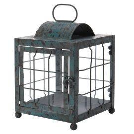 Groene ;lantaarn van metaal ;met glazen inzet ; ;
