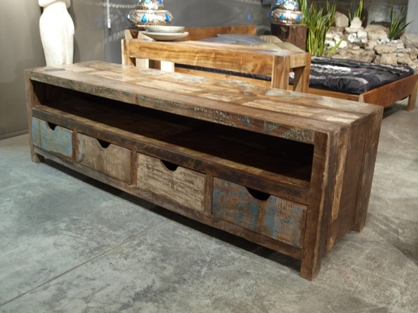 Rainbow television unit in recycled wood