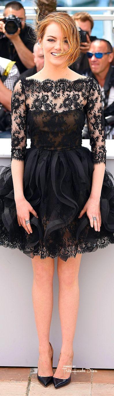 #Emma #Stone in Oscar de la Renta ♔ #Cannes Film Festival 2015 Red Carpet ♔ Très Haute Diva ♔